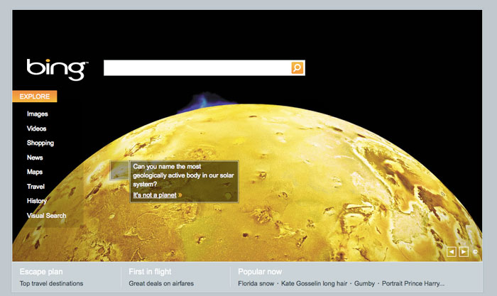 Jupiter's moon Io on Bing.com