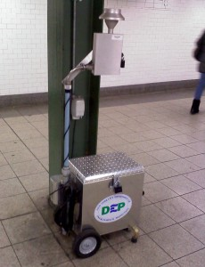 device in Union Square subway station with NYC DEP logo on side
