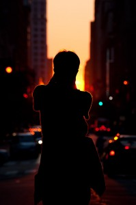 Manhattanhenge 2010 sunset silhouette