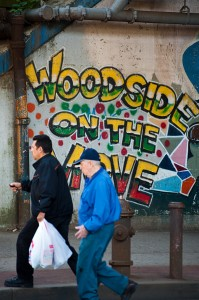 People on the move in Woodside, Queens in New York City