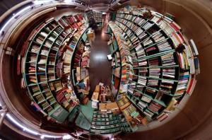 giant shelf of books